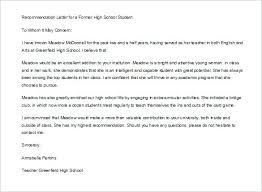 ins letter of recommendation letter of recommendation for high school student template doc