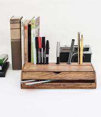 Desk Organizer Vintage Wooden Handmade Desk Organizer Pen Holder Cellphone Stand