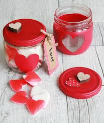valentine s day crafts gift idea red paint stencil candy candle holder