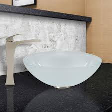the vigo white frost glass vessel sink and blackstonian faucet set in brushed nickel finish adds