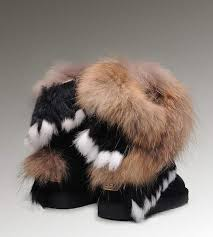 UGG Short Fox Fur 8288 Black Boots
