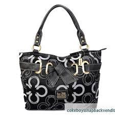 Authentic Fashionable In Black Coach Bowknot Monogram Medium Totes