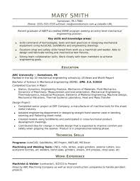 Resume Examples For Mechanical Engineering Students Best Sample