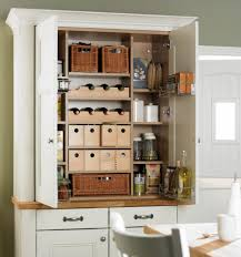 elegant kitchen design with white painted free standing kitchen pantry cabinet two drawers kitchen pantry