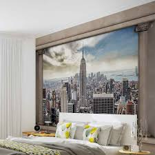 New York Bedroom Wallpaper New York City View Pillars Photo Wallpaper Mural 2812wm City