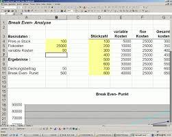 Break Even Point Excel Kostenloser Excel Tool Für Break Even Analyse