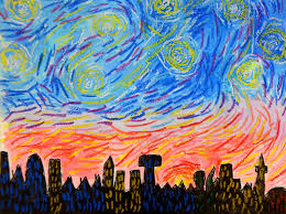 painting style of vincent van gogh inspired by his distinctive brushstrokes students created their own version of a starry night with acrylic paint