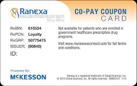 my ranexa connect print copay card