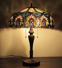 tiffany style fl design 2 light table lamp beige amber green stained glass