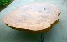 tropical live edge round coffee table