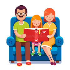 mom dad and daughter reading story book together stock vector ilration of reading