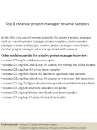 Sample It Project Manager Resumes Top 8 Creative Project Manager Resume Samples