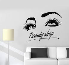 Eye Makeup Sticker Designs Vinyl Wall Decal Beauty Shop Logo Girl Eyelashes Eyes Makeup