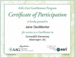 Certificate Celebrating Your GeoMentor Efforts AAG 24