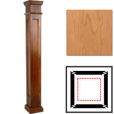 Decorative Interior Columns Cherry Wooden Column Wraps 8 X 4 Square Recessed Panel