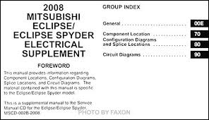2008 mitsubishi eclipse spyder wiring diagram manual original covers all 2008 mitsubishi eclipse eclipse spyder models including gs se and gt this book is in new condition measures 8 5 x 11 and is 1 5 thick