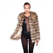 golden brown fur coat with rac collar