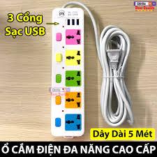 ⭐Ổ Cắm Điện Đa Năng CYX-335U - Ổ Điện Thông Minh 3 Cổng USB 5 Lỗ Cắm - Dây  Dài 5 Mét: Mua bán trực tuyến Ổ điện công tắc thiết bị