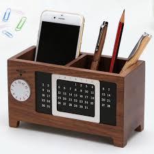 a natural wooden desk storage box simple design diy calendar month function pen holder collection