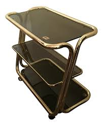 furniture trolley. distinguished morex italian modern glam brass and smoked glass bar cart, trolley or server | decaso furniture