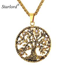 starlord tree life necklace pendant 316l stainless steel gold tree of life jewelry