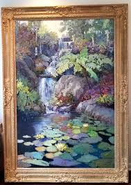 kent wallis a waterfall original painting on canvas