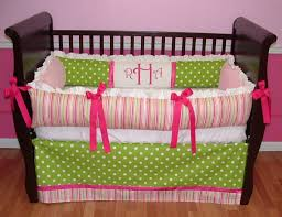 bedroom design white dots green crib blanket design with pink ribbons for girl ocean crib