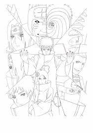 Naruto Coloring Pages Akatsuki Artbook Lineart Psd Akatsuki