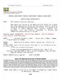 Media Advisory Media Advisory Nigerian Association Of Wichita