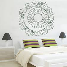 sun wall decal trendy designs: mandala wall decal ethnic sunshine stickers stars vinyl decals sun and moon art murals home interior