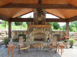 Natural Stone Fireplace Natural Stone Fireplace With Wood Storage And Brick Paver Patio