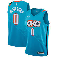 Okc New Jersey Design Mens Oklahoma City Thunder Russell Westbrook Nike Turquoise