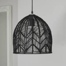 black woven rattan pendant lamp