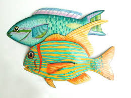 metal wall art tropical fish