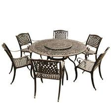 rose ornate traditional 7 piece bronze aluminum round outdoor dining set with 6 chairs and lazy susan