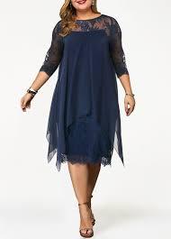 Modlily Size Chart Lace Panel Overlay Plus Size Straight Dress Modlily Com Usd 36 49