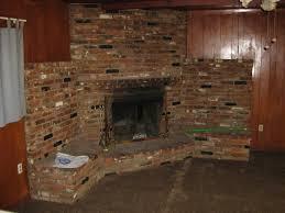 big old brick village style corner fireplace