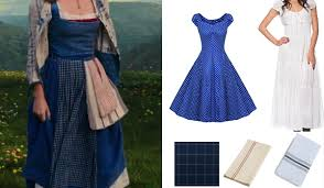 Belle Blue Dress Pattern Best Belle Costume Guide Beauty And The Beast 48 Movie