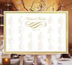 Table Number Chart Wedding Wedding Seating Chart Poster Flourish Gold Print Ready Digital File