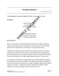 Sample Prenup Prenuptial Agreement Australia Legal Templates Agreements