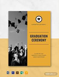 Free Graduation Programs Template Word Psd Indesign