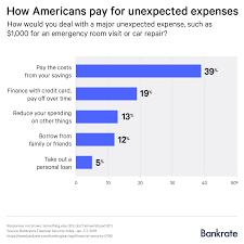 using a credit card was the second most por answer with 19 percent of respondents saying they d deal with an emergency with plastic and pay it off over