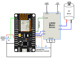 nodemcu dc motor interfacing nodemcu interface with dc motor through l293d driver