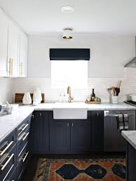 navy gold white kitchen reveal the vintage rug shop the