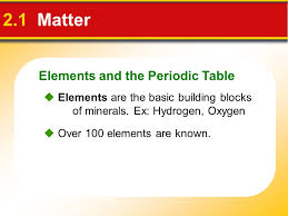 2 Chapter 2 Minerals. Elements and the Periodic Table 2.1 Matter ...