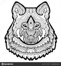 Kleurplaat Voor Volwassenen Sterke Wolf Is Met De Hand Getekend Met