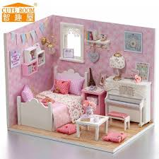 pink dolls house furniture. New Doll House Furniture Diy Miniature Dust Cover 3d Wooden Handmade Pink Dollhouse Toys With Light Led For Kids Christmas Gifts-in Houses From Dolls