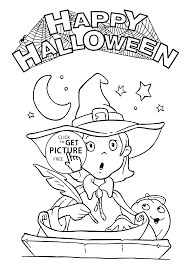 Small Picture Happy Halloween and Pretty Witch coloring page for kids printable