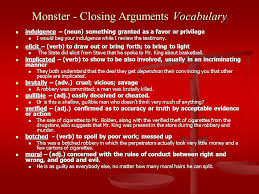 monster by walter dean myers closing arguments ppt video  monster closing arguments vocabulary