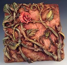 ceramic tile art ceramic and polymer clay tile art rose spider u2013 relief on clay wall art pottery with ceramic tile art ceramic tile art e deltasport
